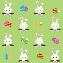 Seamless Pattern With Cute White Rabbit Or Bunny Pops Out Of The Hole And There Are Eggs And Flowers Around On Green Garden Background, Happy Easter Day Concept