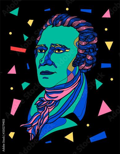 Alexander Hamilton sculpture. Vector illustration hand drawn. Canvas Print