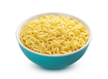 Bowl Of Instant Noodles Isolated On White Background