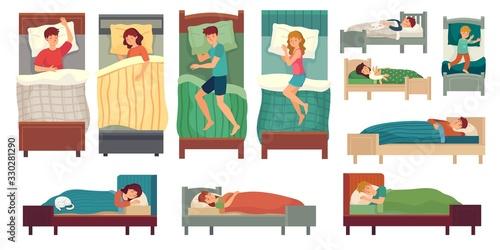 People sleeping in beds Wallpaper Mural