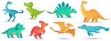 Fototapeta Dinusie - Cartoon dino. Cute dinosaur, funny ancient brontosaurus and green triceratops. Comic dinosaurs vector illustration set. Dinosaur and monster, comic prehistoric reptile
