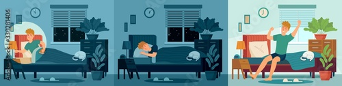 Obraz Man sleep in home bed room. Happy male character sleeping in bed at night and wake up morning. Healthy sleep vector illustration. Awake man in light room, bedroom morning, wake person - fototapety do salonu