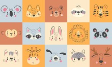 Cute Animal Portraits. Hand Dr...