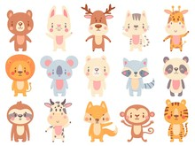 Cute Cartoon Animals. Waving G...