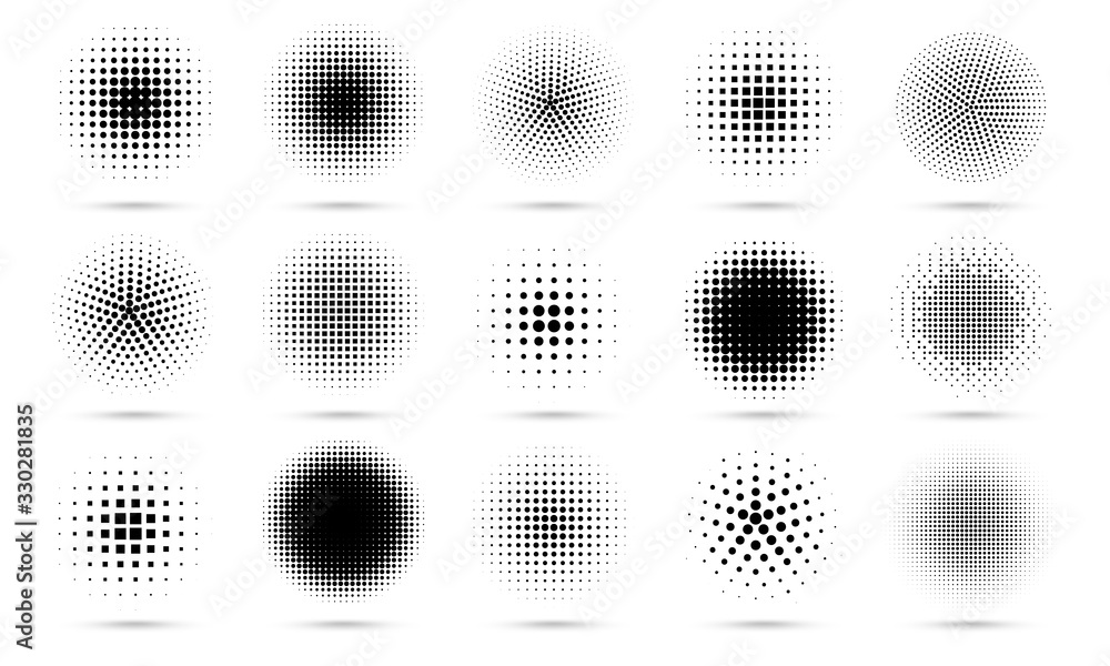 Fototapeta Circle halftone. Abstract dotted circles, round halftones geometric dots gradient and pop art texture. Dot spray gradation vector set. Illustration halftone gradient spotted, effect round
