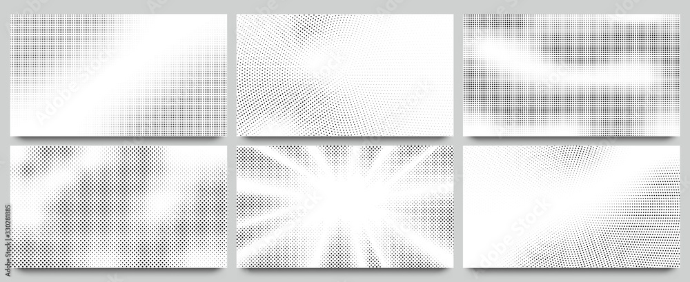 Fototapeta Abstract halftone background. Wavy dots pattern, twisted dotted pattern and pop art or comic texture backdrop with halftones gradient vector set. Dots effect pattern, decoration layout illustration