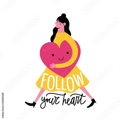 Fotografía Vector illustration with smiling walking woman in yellow dress holding big pink heart