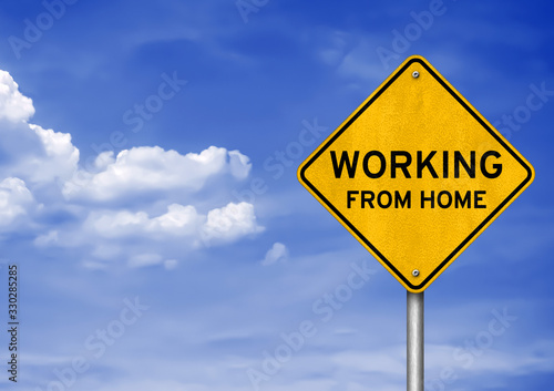 Fototapeta Working from home - roadsign message
