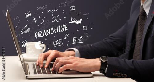 Fototapeta Businessman working on laptop with FRANCHISE inscription, modern business concept obraz