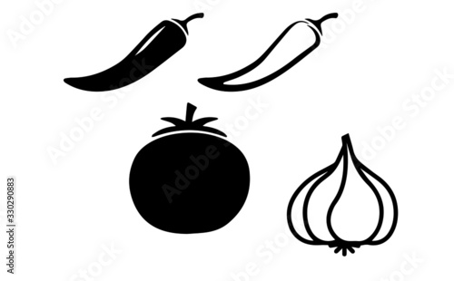 фотография garlic chili tomato set vector