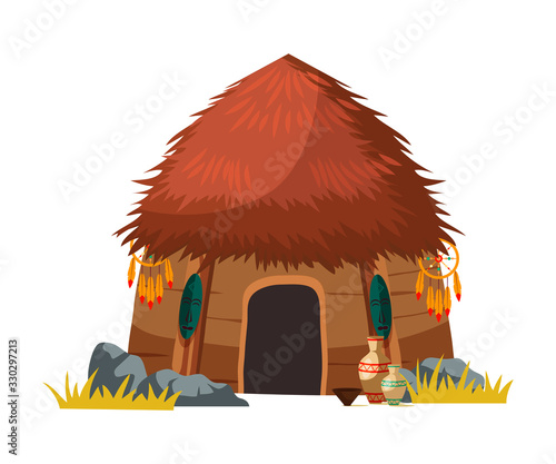 Photo African tribal hut house isolated on white design