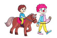Happy Little Boy Riding Horse Led By Circus Clown