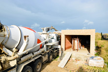 Concrete Truck And Pump On Site