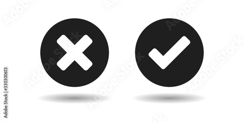 Validation buttons,  tick and cross on buttons Canvas Print