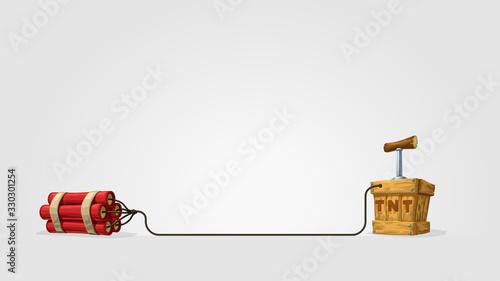 Fotografie, Tablou cartoon dynamite with wood box