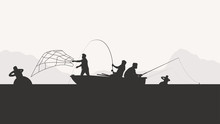 Group Of Men Fishing Silhouette