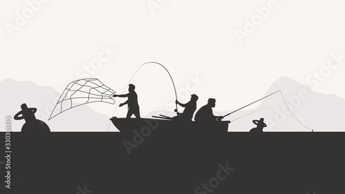 Obraz group of men fishing silhouette - fototapety do salonu