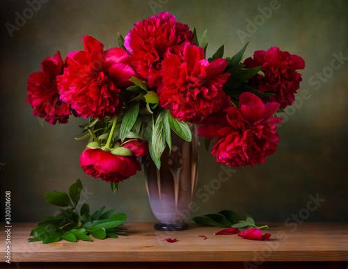 Fototapeta Still life with burgundy peonies in a vase obraz