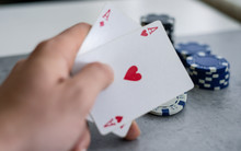 Chips And Cards For Poker In H...