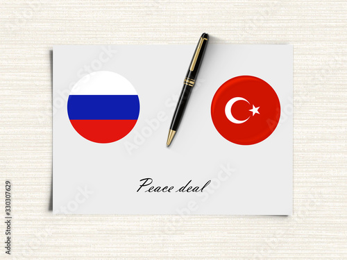Photo Russia and Turkey possible peace agreement concept.