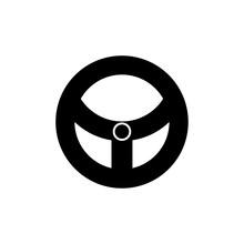 Car Steering Wheel Icon Flat S...
