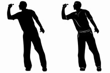 Silhouette Of A Darts Player, Vector Drawing