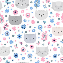 Cute Background. Kids Seamless Pattern With Cats. Funny Animals On Dark Backdrop. Great For Fabric And Textile