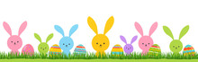 Easter Bunnies On Green Grass With Colored Eggs. Festive Spring Banner Poster.