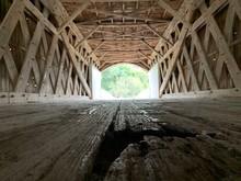 Covered Bridge View From Wooden Floor