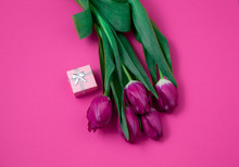 Bouquet Of Pink Tulips On A Pi...