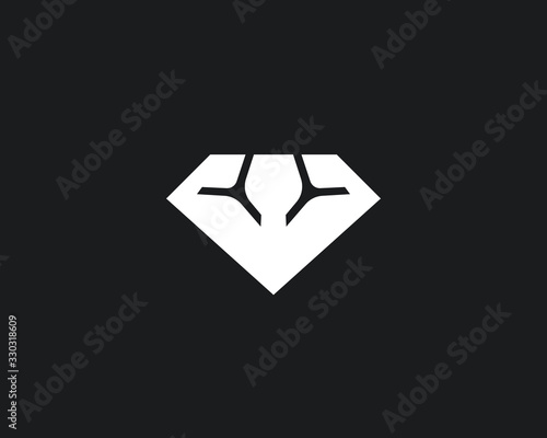 Abstract diamond gym logo icon design modern minimal style illustration Wallpaper Mural