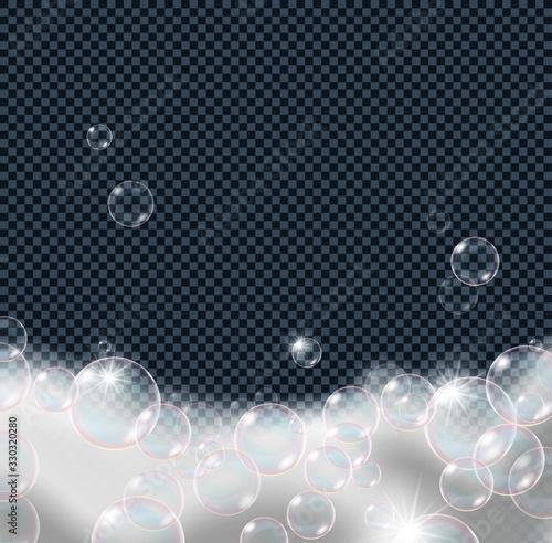 Valokuva Soap foam bubbles isolated on transparent background