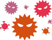 ウイルスのイラスト、アイコン、感染症、花粉、病気、風邪、ばい菌、コロナ