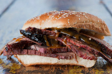 BBQ Sandwiches. Classic Traditional Texas Barbecue Sandwiches. Slow Roasted Pulled Pork. Thick Sliced Smoked Beef Brisket. Chopped Beef Brisket With Secret Sauce Bbq Sauce. Served On White Buns.