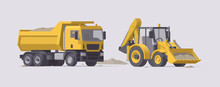 Vector Dump Truck With Sand & Backhoe Loader Set. Isolated Illustration