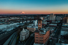 Sunset Over Downtown Tacoma, WA With Mt.Rainier In Sight