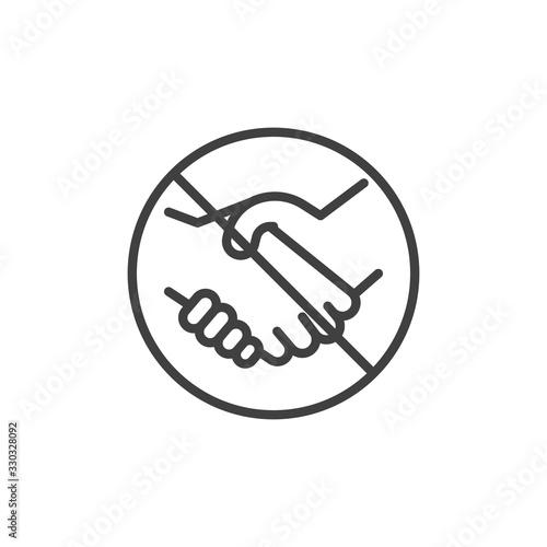 No handshake line icon. Handshake ban linear style sign for mobile concept and web design. Stop Handshake outline vector icon. Symbol, logo illustration. Vector graphics Fototapete