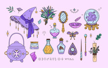 Witchcraft Collection In Line Style. Isolated Set Of Sorcery And Wizard Elements. Kit For Good Witch - Hat, Small Cauldron, Magic Wands, Crystal Ball. Idea For Fairy Badges, Stickers, Print
