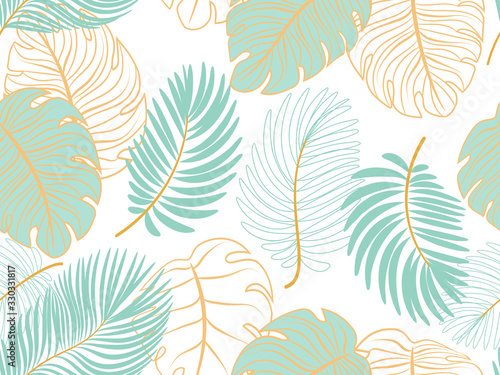 Vector seamless tropical pattern with leaves on white  background. Vector  floral illustration for textile, print, wallpapers, wrapping.