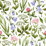 Watercolor seamless pattern with meadow flowers. Botanical background with wild flowers, clovers, blue bell, herbs. Illustration in nature style for wallpaper, textile, wrapping, covers. - 330346277