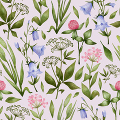 Fototapeta Łąka Watercolor seamless pattern with meadow flowers. Botanical background with wild flowers, clovers, blue bell, herbs. Illustration in nature style for wallpaper, textile, wrapping, covers.