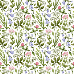 Fototapeta Do sypialni Watercolor seamless pattern with meadow flowers. Botanical background with wild flowers, clovers, blue bell, herbs. Illustration in nature style for wallpaper, textile, wrapping, covers.
