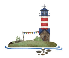 Watercolor Illustration Card With Lighthouse. Lighthouse, Rock, Seaweed, Waves, Island. Composition In Marine Theme Perfect For Postcard, Children Poster, Cover.
