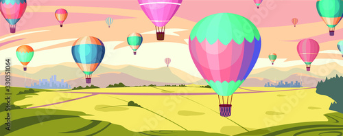 Colorful hot air balloons fly in orange sky over amazing valleys Fotobehang