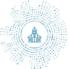 Blue Line Church Building Icon...