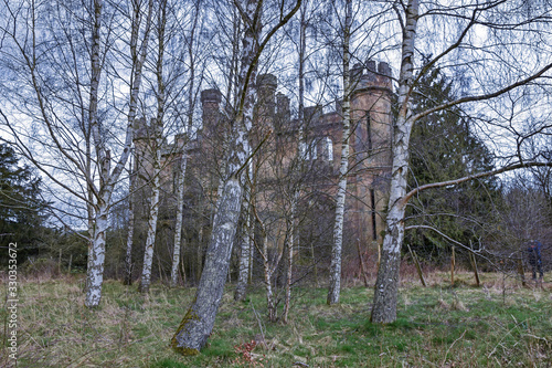 Crawford priory, an abandoned derelict gothic mansion near Cupar, Fife, Scotland Canvas Print