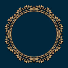 Vintage Gold Round Frame With Border Scroll Pattern. Ornate Golden Label On Dark Blue Background. Circle Picture Frame In Baroque Style.