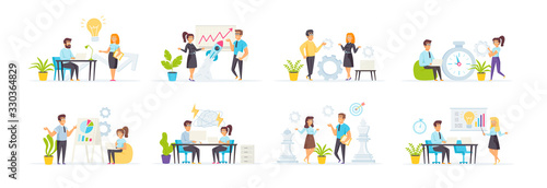 Brainstorming and creativity set with people characters in various scenes and situations. Business idea presentation, new solution or startup discussion. Bundle of colleagues cooperation in flat style