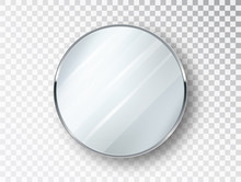 Mirror Round Isolated. Realistic Round Mirror Frame, White Mirrors Template. Realistic 3D Design For Interior Furniture. Reflecting Glass Surfaces Isolated.