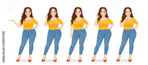 Obraz Young happy beautiful plus size woman wearing jeans in different poses isolated vector illustration - fototapety do salonu